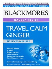 Blackmores Travel Calm Ginger, Relieves Nausea, 45 Tablets
