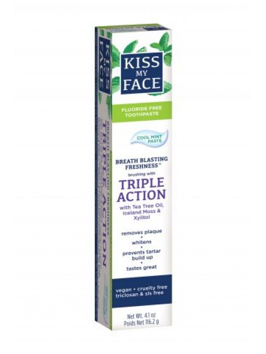 Kiss My Face Triple Action Cool Mint Gel Fluoride-Free Toothpaste, 4.5 oz
