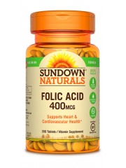Sundown Naturals Folic Acid 400mcg, 350 tabs