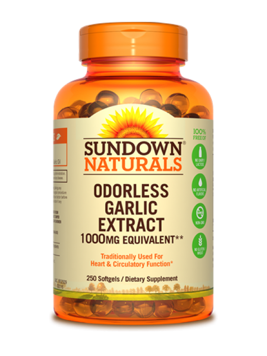 Sundown Naturals Odorless Garlic Extract 1000mg equivalent, 250 caps