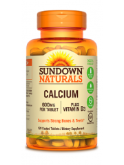 Sundown Naturals Calcium 600mg+Vitamin D3, 120 tabs