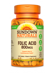 Sundown Naturals Folic Acid 800mcg, 100 Tabs