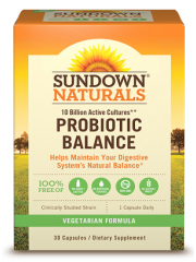 Sundown Naturals, Probiotic Balance 10 Billion Active Cultures, 30 cap ...