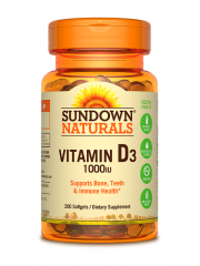 Sundown Naturals Vitamin D3 1000iu, 200 sgls, Pack of 3