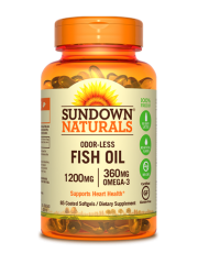 Sundown Naturals Odorless Fish Oil 1200mg, 85 coated sgls