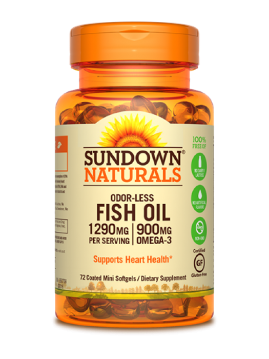 Sundown Naturals Odorless Fish Oil 1290mg, 72 mini-sgls