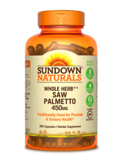 Sundown Naturals Saw Palmetto 450mg, 250 caps