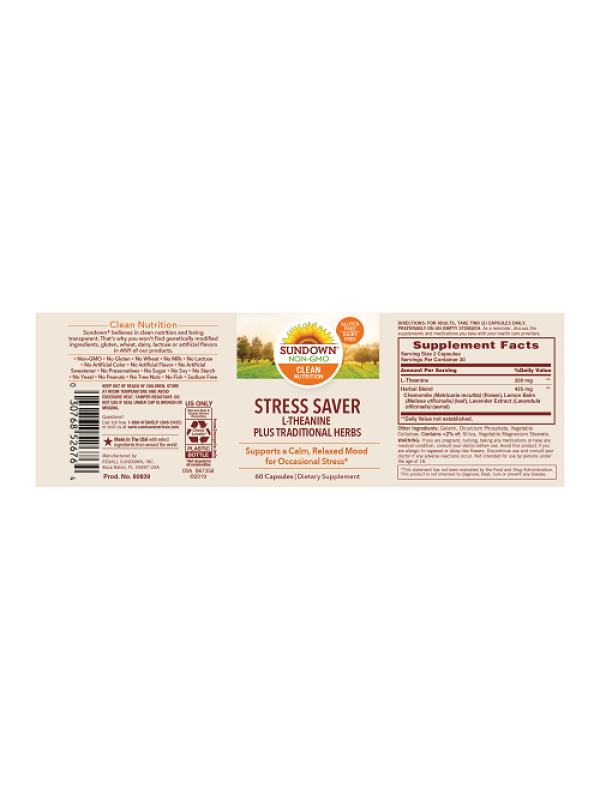 Sundown Naturals Stress Saver, 60 caps, pack of 3