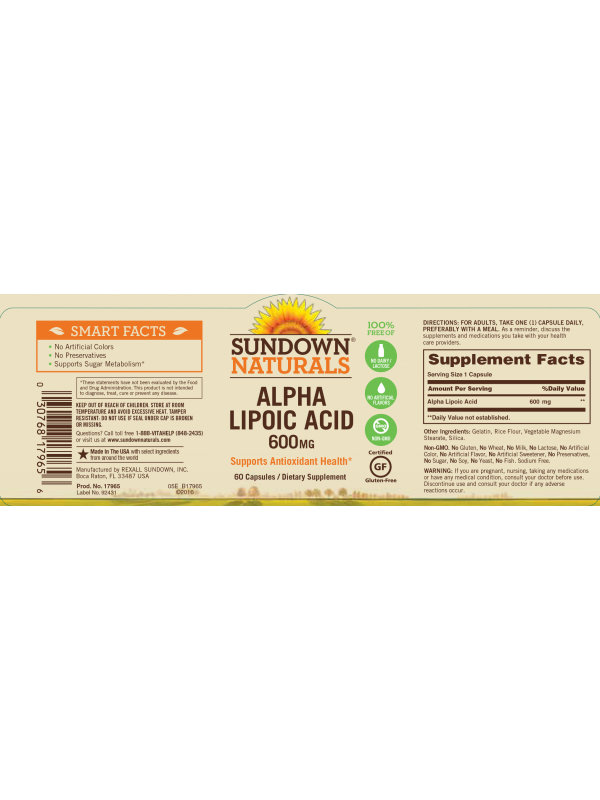 Sundown Naturals Alpha Lipoic Acid 600mg, 60 caps, Pack of 3