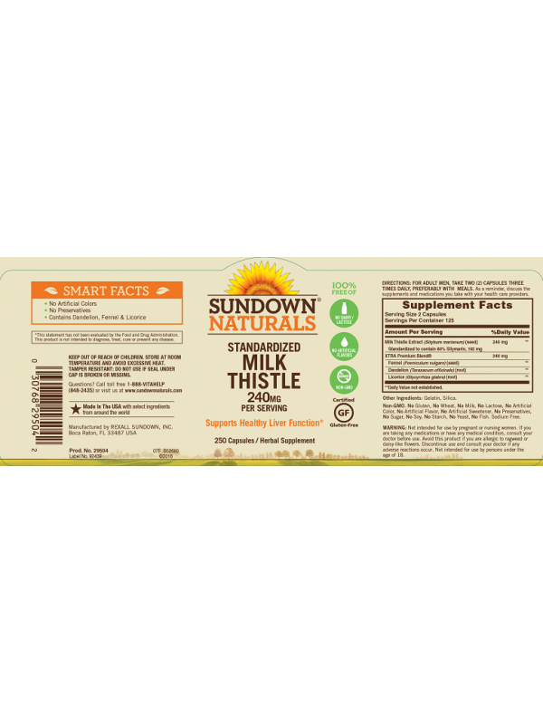 Sundown Naturals Milk Thistle 240mg, 250 caps, Pack of 6
