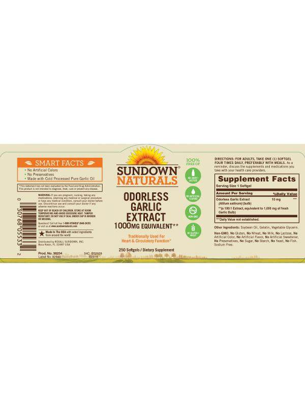 Sundown Naturals Odorless Garlic Extract 1000mg equivalent, 250 sgls