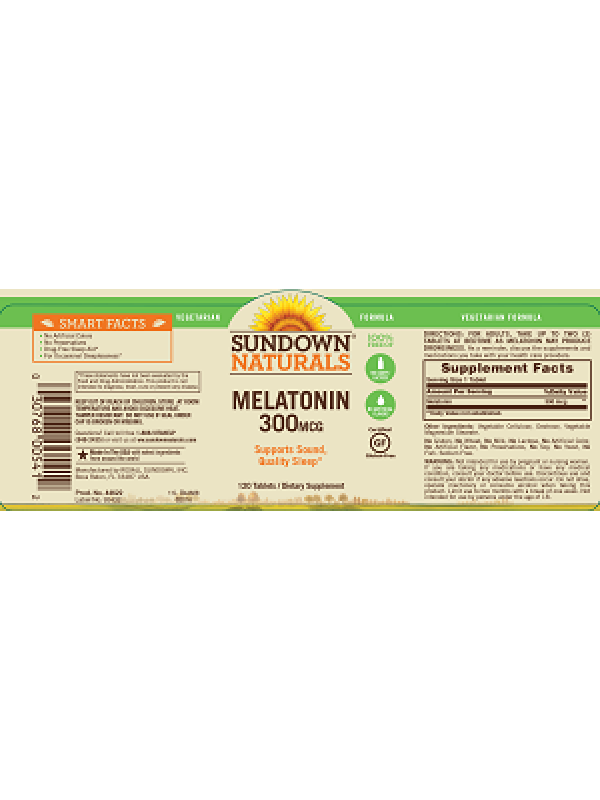 Sundown Naturals Melatonin 300mcg, 120 tabs, Pack of 3