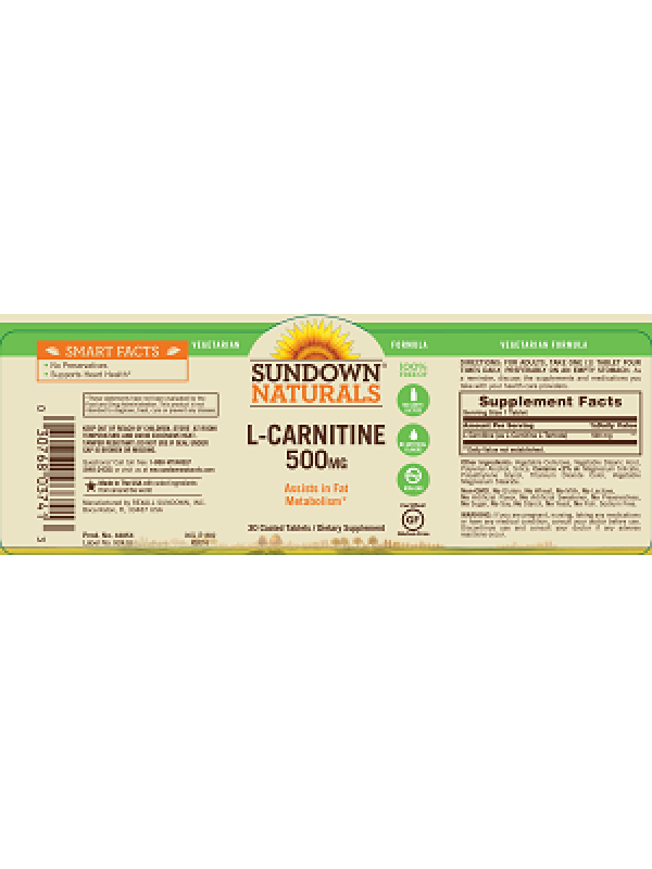 Sundown Naturals L-Carnitine 500mg, 30 tabs, Pack of 3