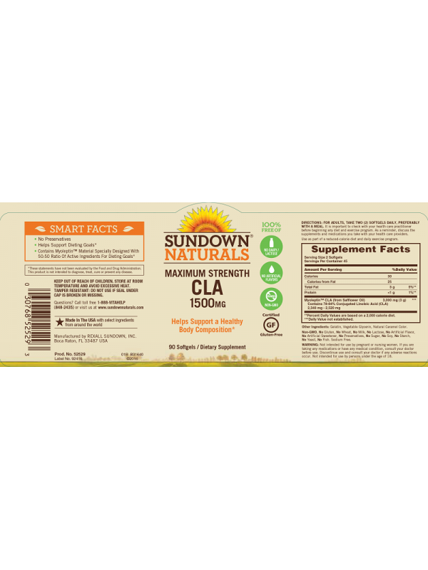 Sundown Naturals Maximum Strength CLA 1500mg, 90 sgls