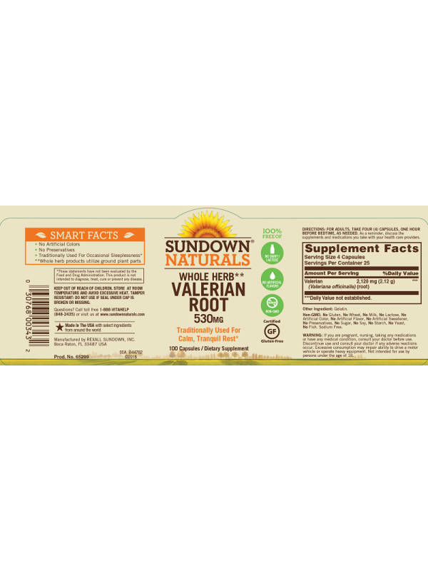 Sundown Naturals Valerian Root 530mg, 100 caps