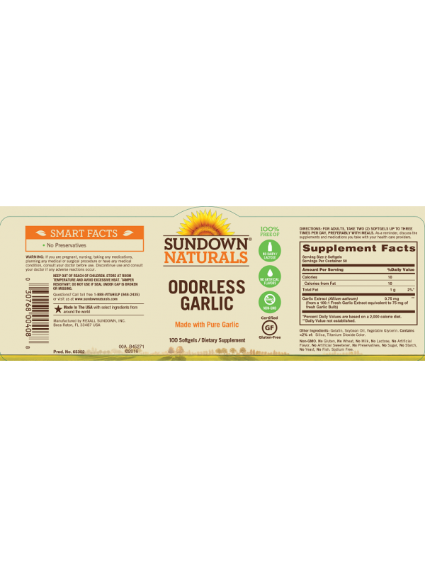 Sundown Naturals Odorless Garlic, 100 sgls