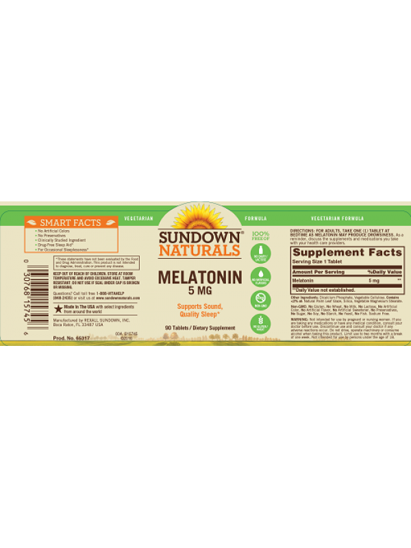 Sundown Naturals Melatonin 5mg, 90 tabs