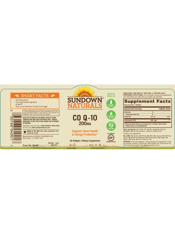 Sundown Naturals CoQ10 200mg, 40 sgls, Pack of 3