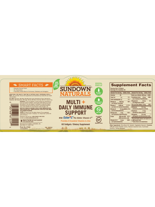 Sundown Naturals Multi+Daily Immune Support, 60 sgls