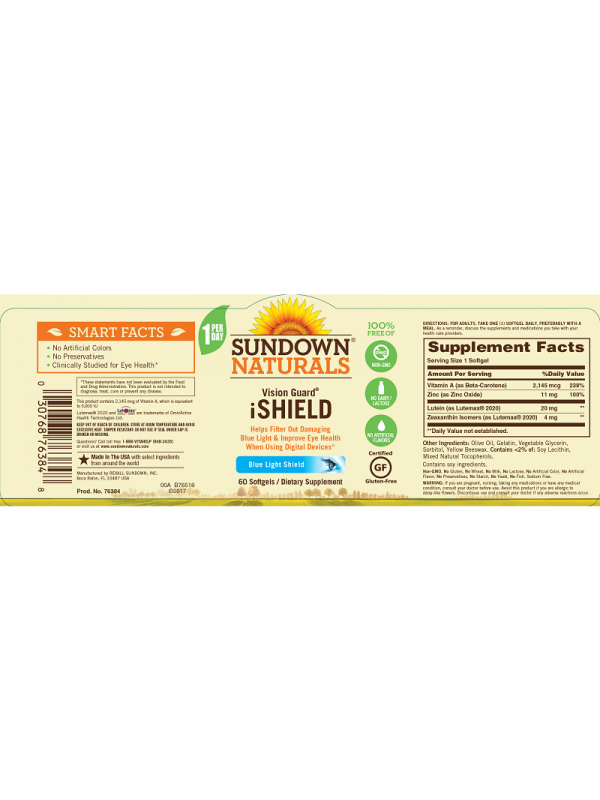 Sundown Naturals Vision Guard® iShield, 60 sgls, Pack of 6