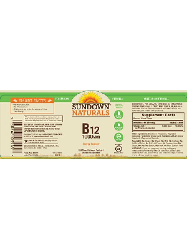 Sundown Naturals Vitamin B12 1000mcg, 120 Time Release tabs, Pack of 3