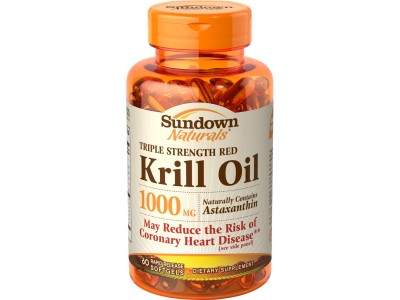 Sundown Naturals Triple Strength Red Krill Oil 1000 mg, 60 Softgels (Clearance)