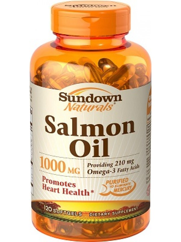 Sundown naturals salmon oil 1000mg 120 softgels for Salmon fish oil