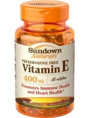 Sundown Naturals Vitamin E 400 IU dl-Alpha,100 softgels