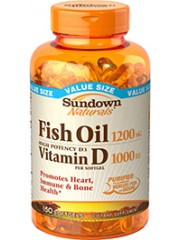 Sundown Naturals Fish Oil 1200mg with Vitamin D3 1000 IU, 150 Softgels
