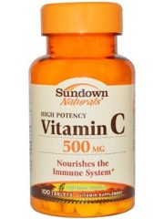 Sundown Naturals, Vitamin C, High Potency, 500mg, 100 Tablets, Pack of ...