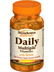 Sundown Naturals Daily Multiple Vitamins with Iron, 100 Tablets