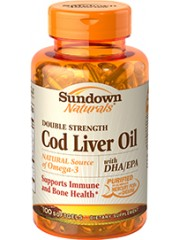 Sundown Naturals Double Strength Cod Liver Oil, 100 softgels